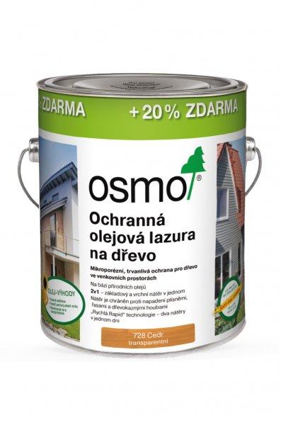 OSMO AKCE > OSMO Ochranná olejová lazura 728 cedr - 3L  DOPRAVA ZDARMA